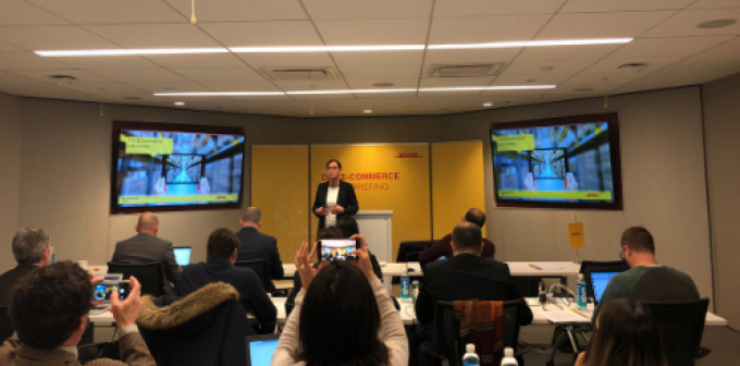 DHL's Katja Busch presenting in New York last week