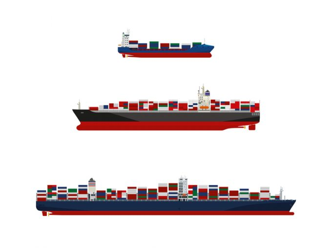 Container ships vector illustration