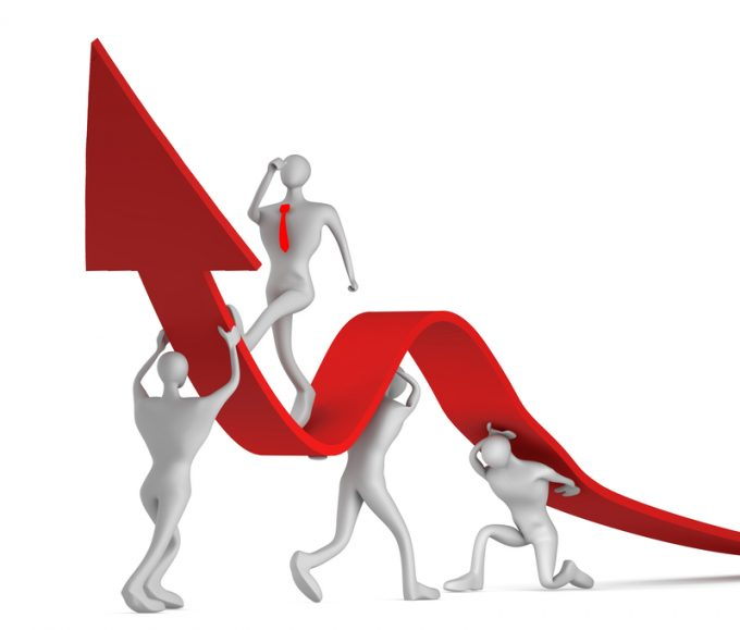 3d persons turning the arrow on the upside and man who going up